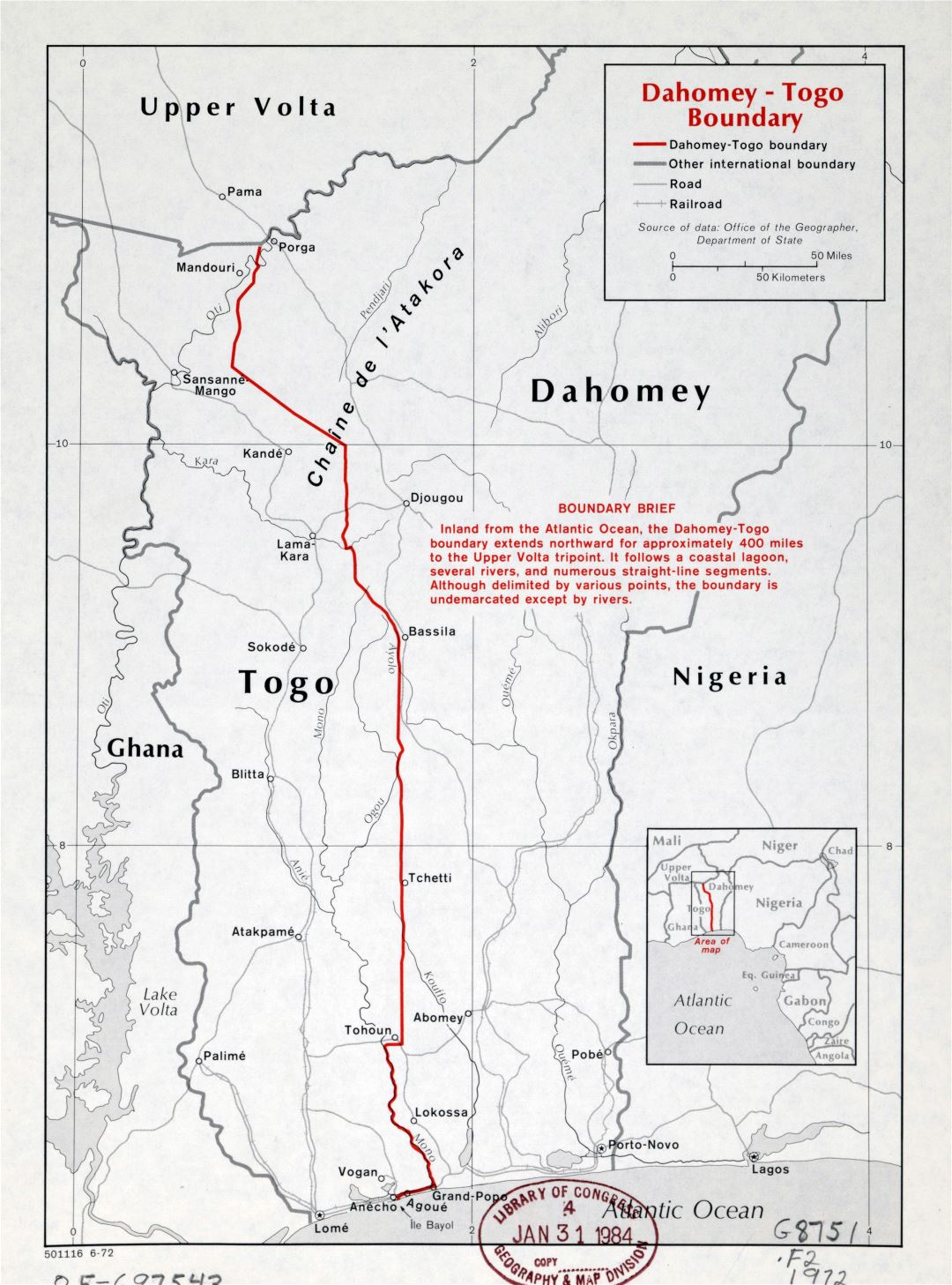 Large detailed Dahomey-Togo boundary map - 1972