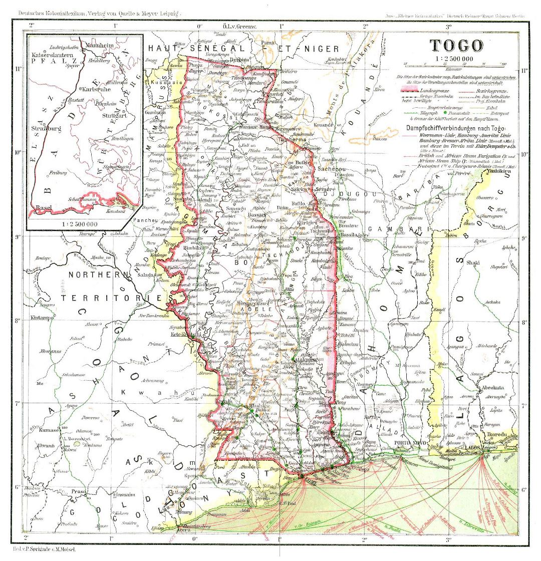 Large detailed old map of Togo