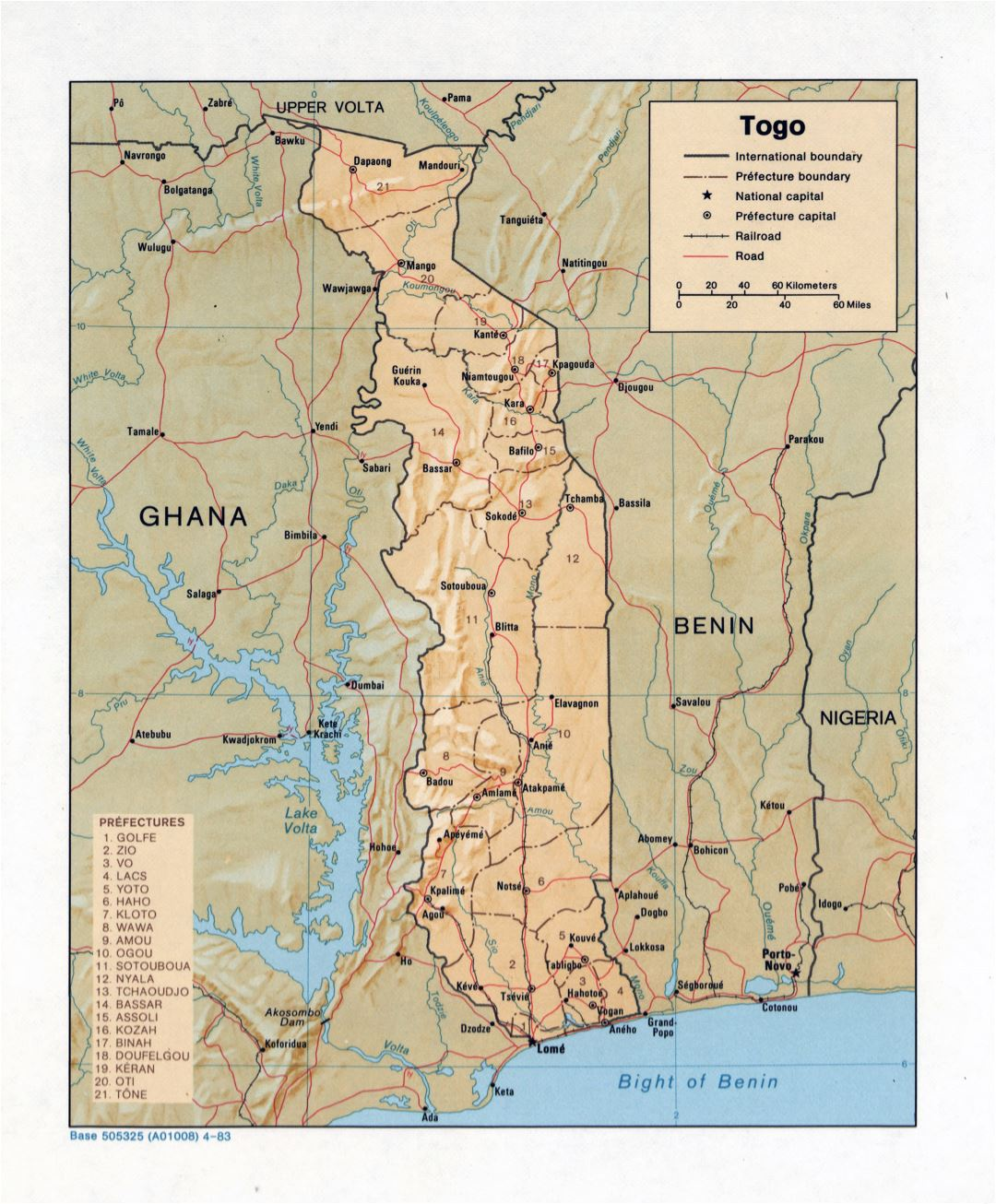 Large detailed political and administrative map of Togo with relief, roads, railroads and major cities - 1983