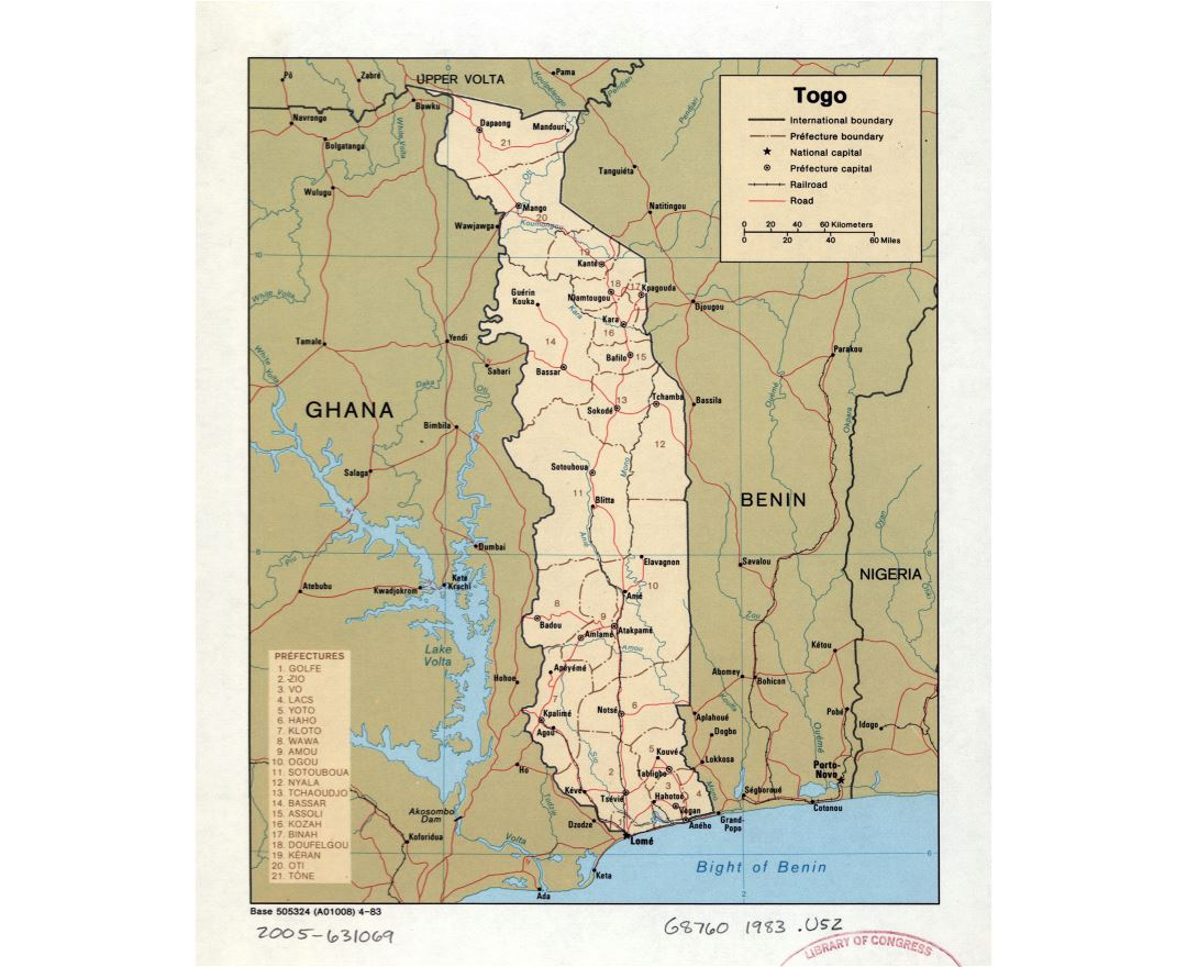Large detailed political and administrative map of Togo with roads, railroads and major cities - 1983