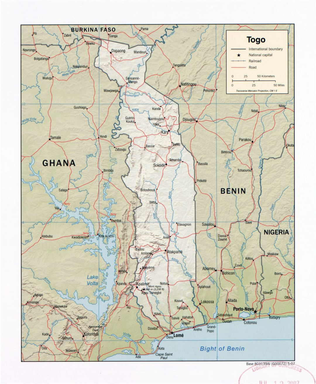 Large detailed political map of Togo with relief, roads, railroads and major cities - 2007