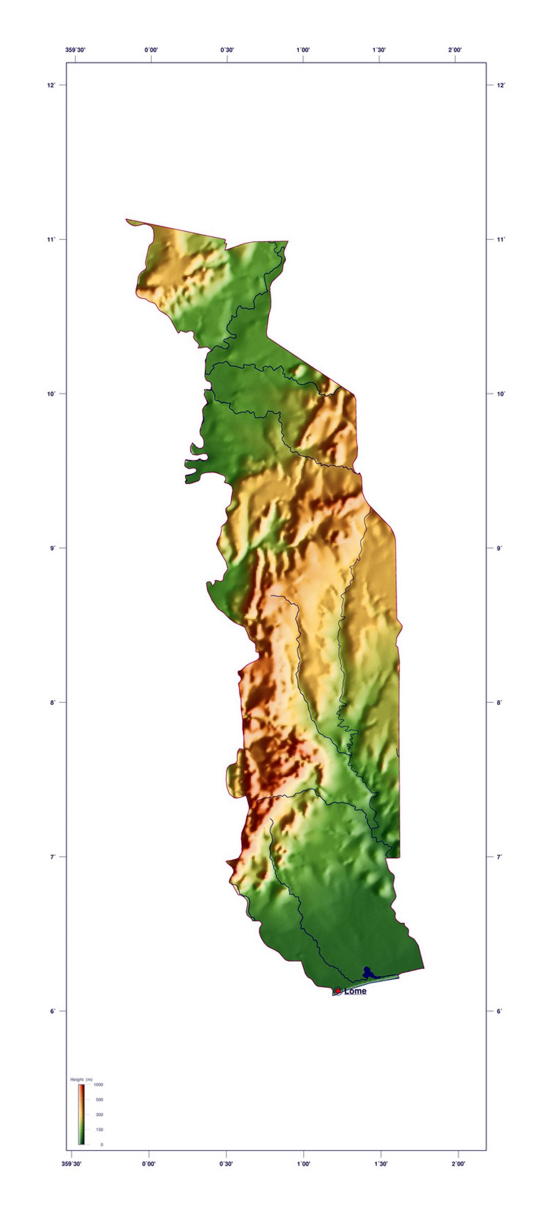 Large elevation map of Togo
