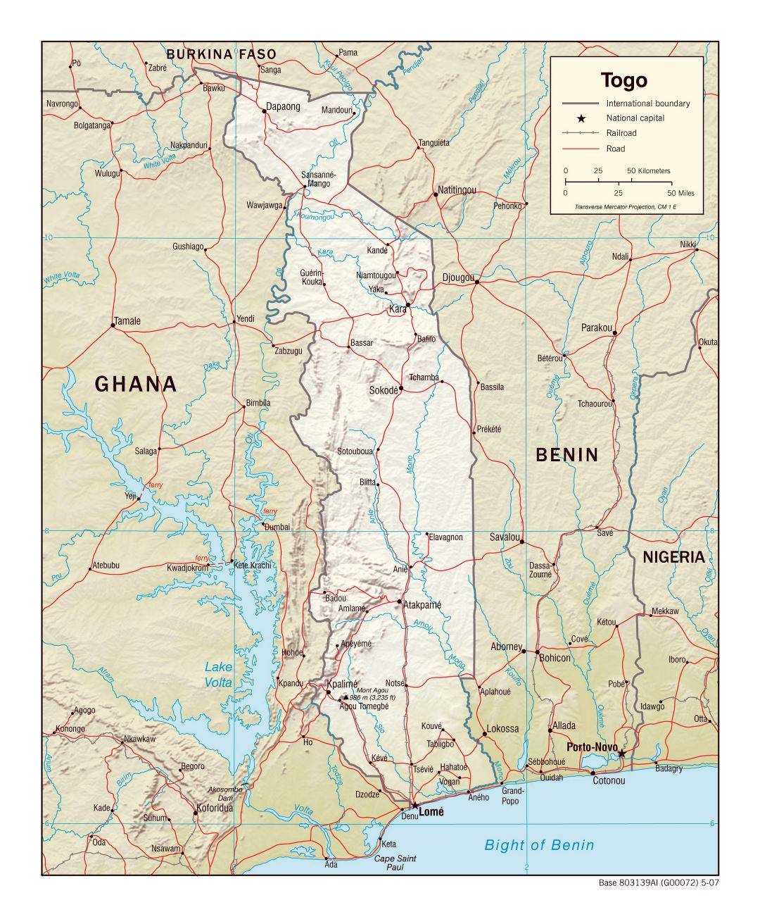 Large political map of Togo with relief, roads, railroads and major cities - 2007