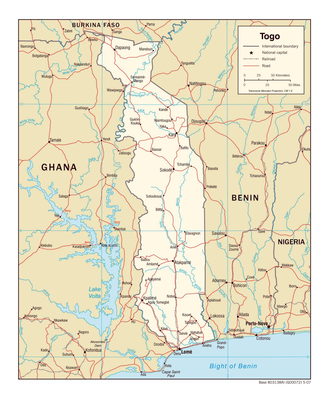 Large political map of Togo with roads, railroads and major cities - 2007