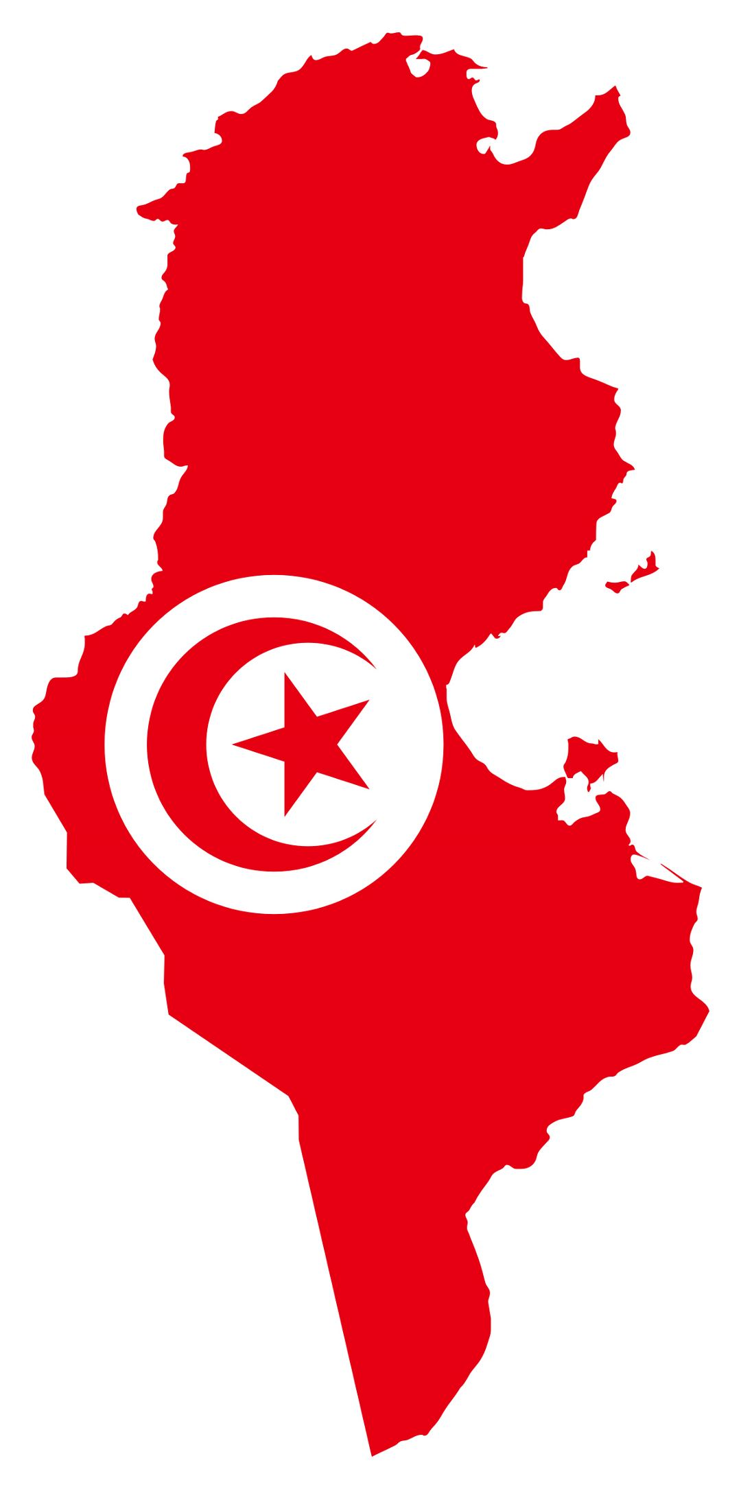 Detailed flag map of Tunisia