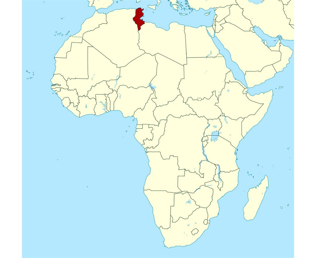 Detailed location map of Tunisia in Africa