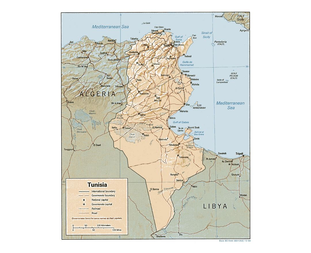Detailed political and administrative map of Tunisia with relief, roads, railroads and major cities - 1990