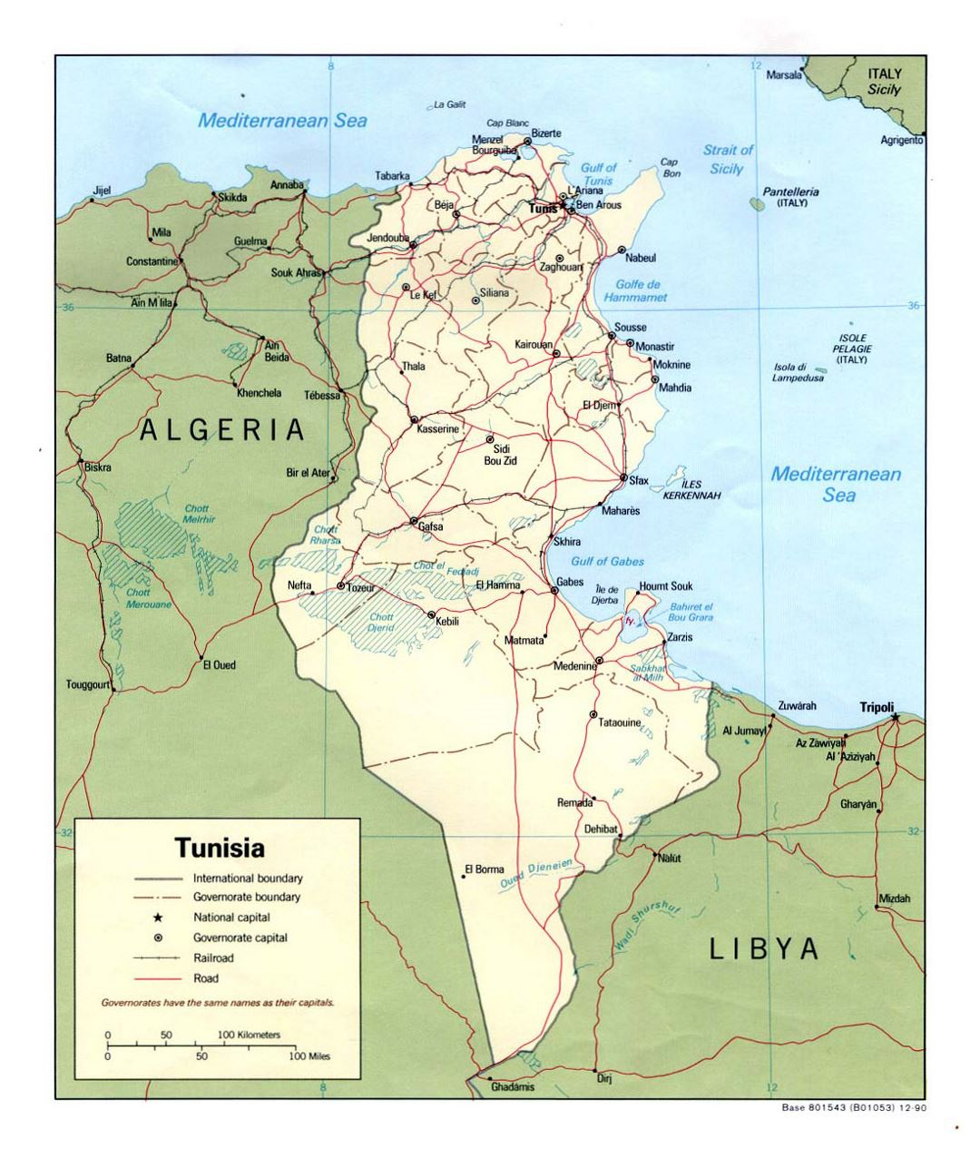 Detailed political and administrative map of Tunisia with roads, railroads and major cities - 1990