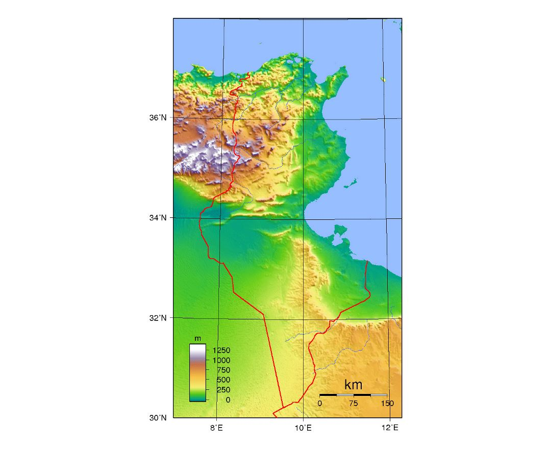 Detailed topographical map of Tunisia