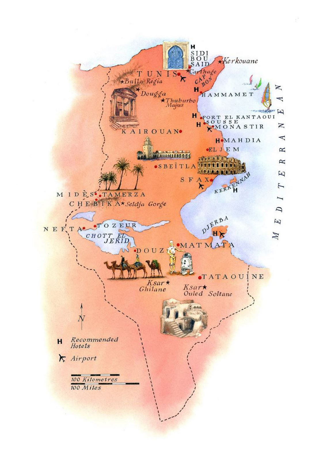 Detailed tourist illustrated map of Tunisia