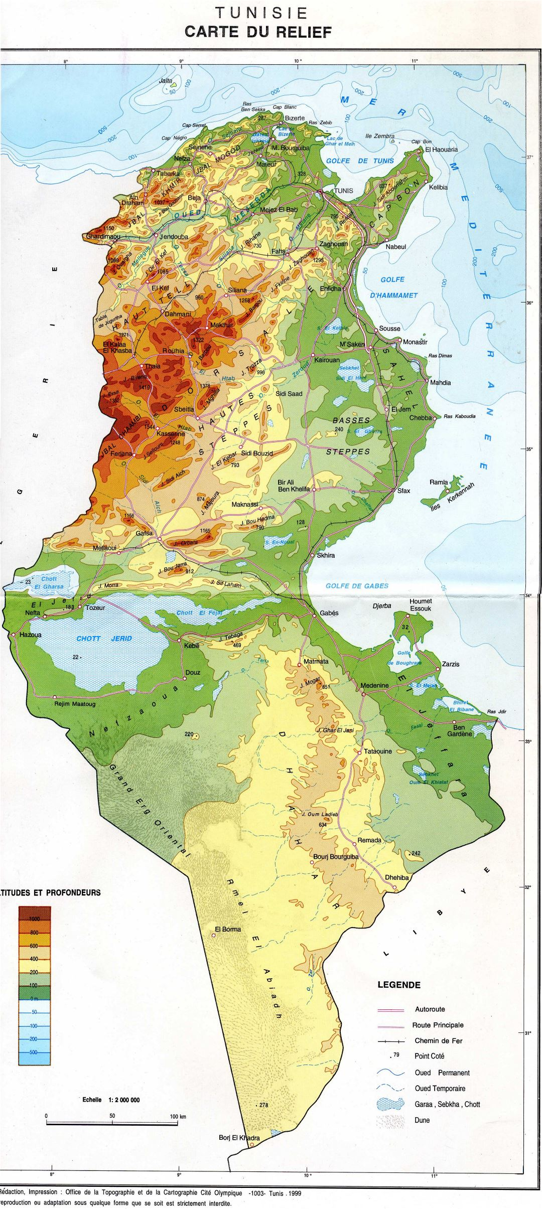 Large detailed physical map of Tunisia
