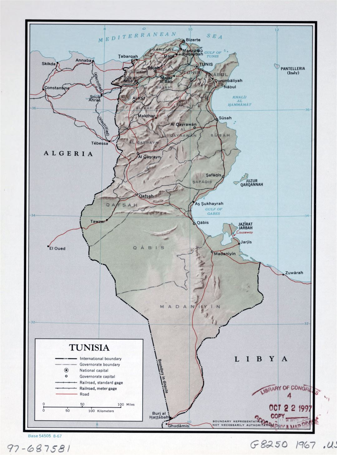 Large detailed political and administrative map of Tunisia with relief, roads, railroads and major cities - 1967