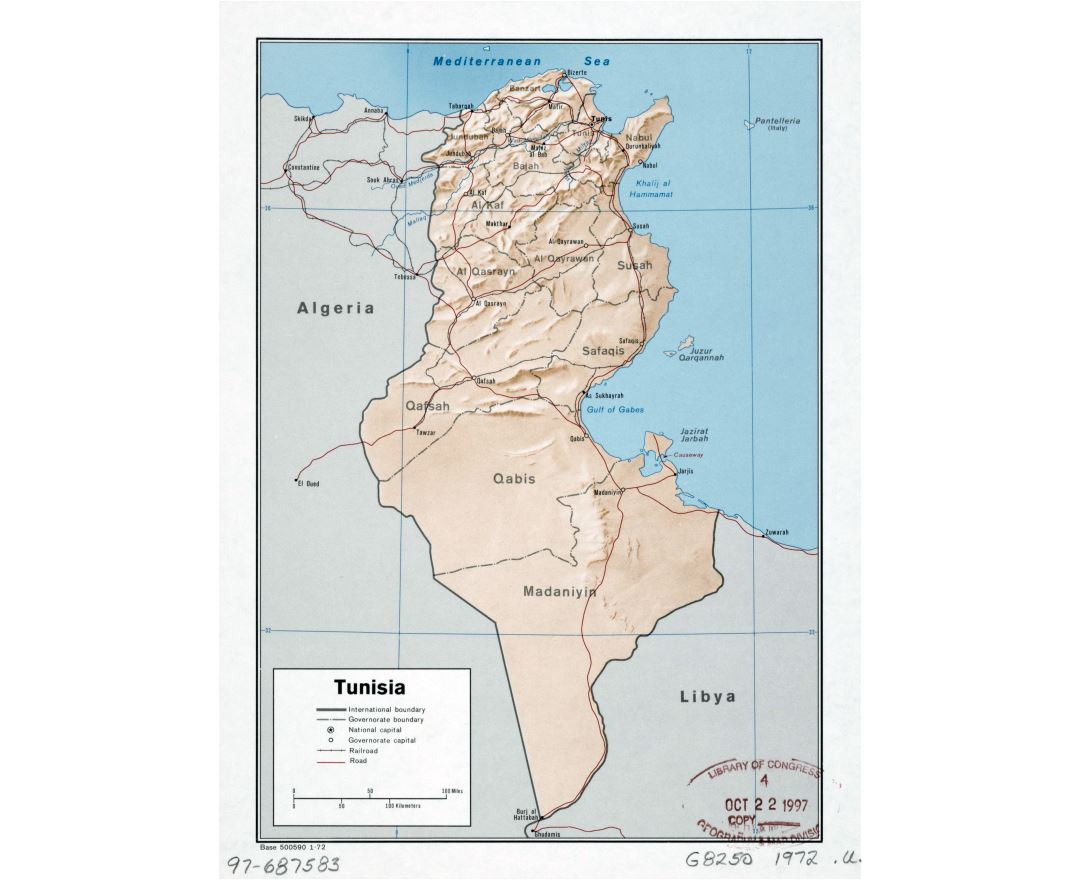 Large detailed political and administrative map of Tunisia with relief, roads, railroads and major cities - 1972