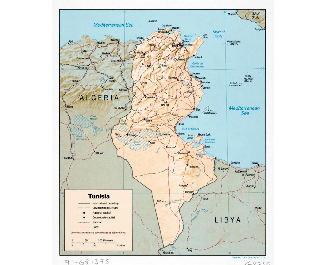 Large detailed political and administrative map of Tunisia with relief, roads, railroads and major cities - 1990