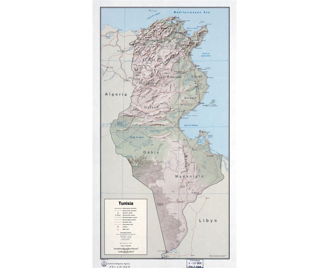 Large detailed political and administrative map of Tunisia with relief, roads, railroads, major cities, ports and airports - 1972