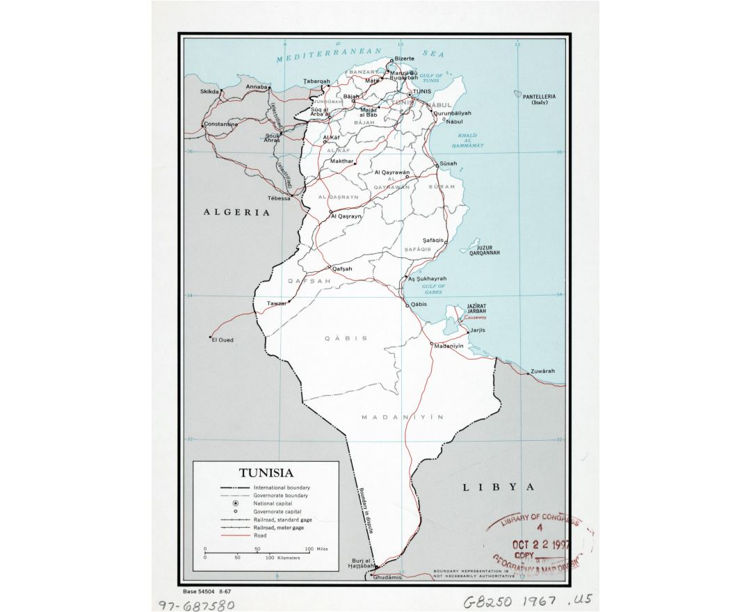 Large detailed political and administrative map of Tunisia with roads, railroads and major cities - 1967