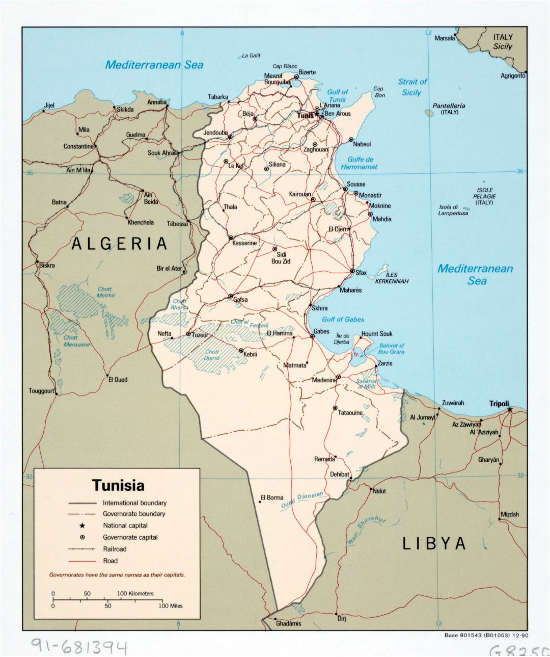 Large detailed political and administrative map of Tunisia with roads, railroads and major cities - 1990