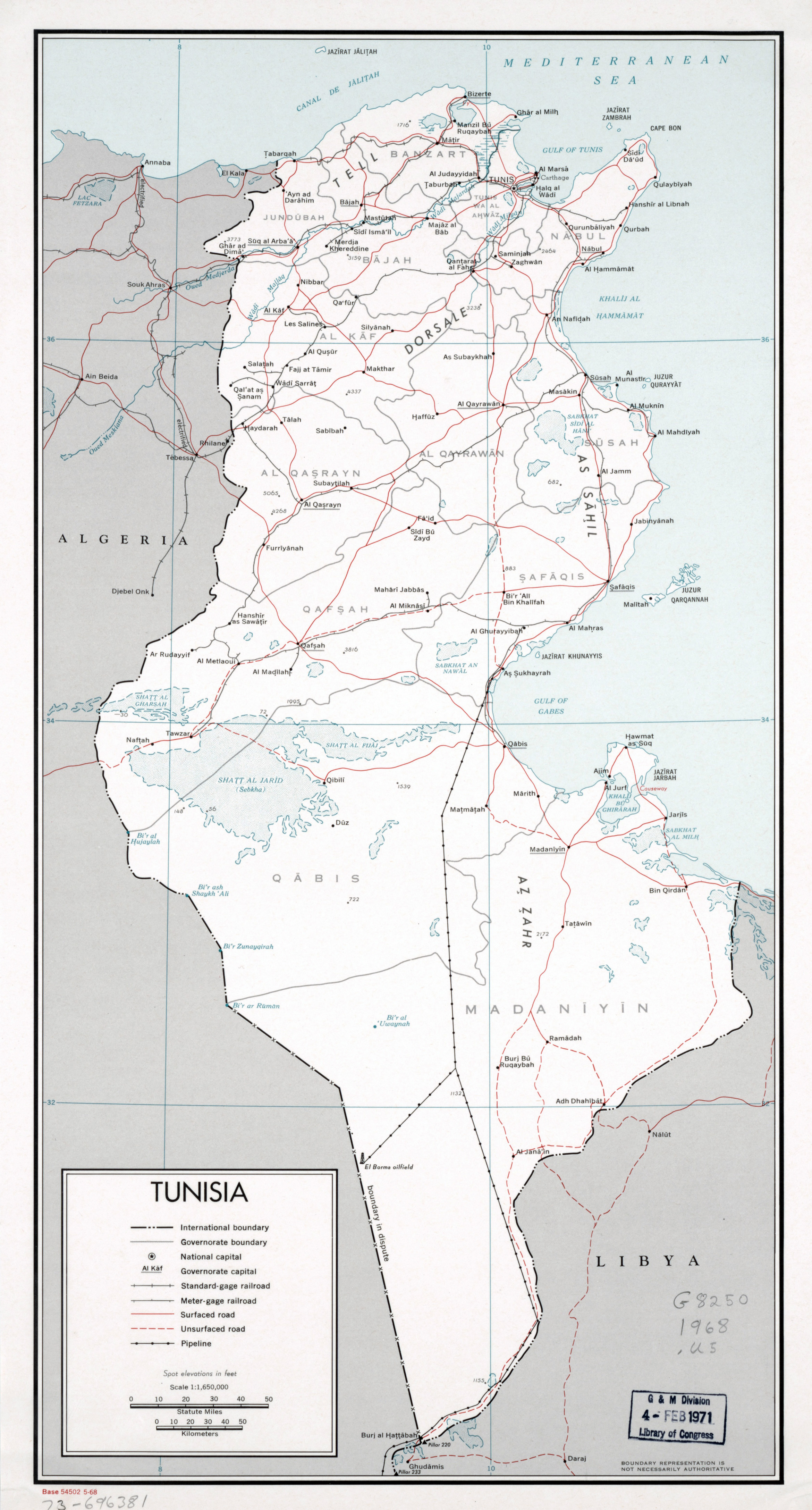 Large detailed political and administrative map of Tunisia with ...