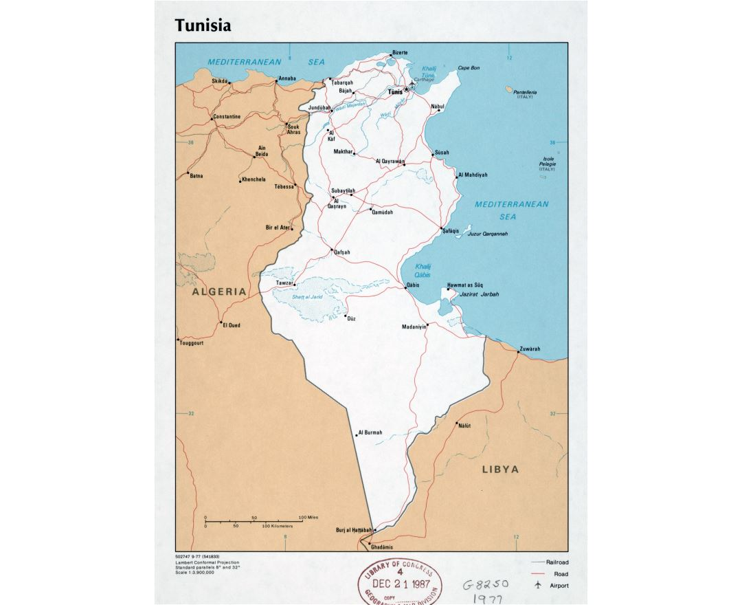 Large detailed political map of Tunisia with roads, railroads, major cities and airports - 1977