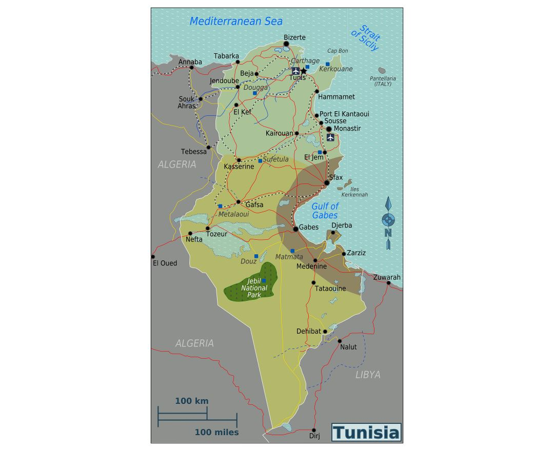Large detailed regions map of Tunisia