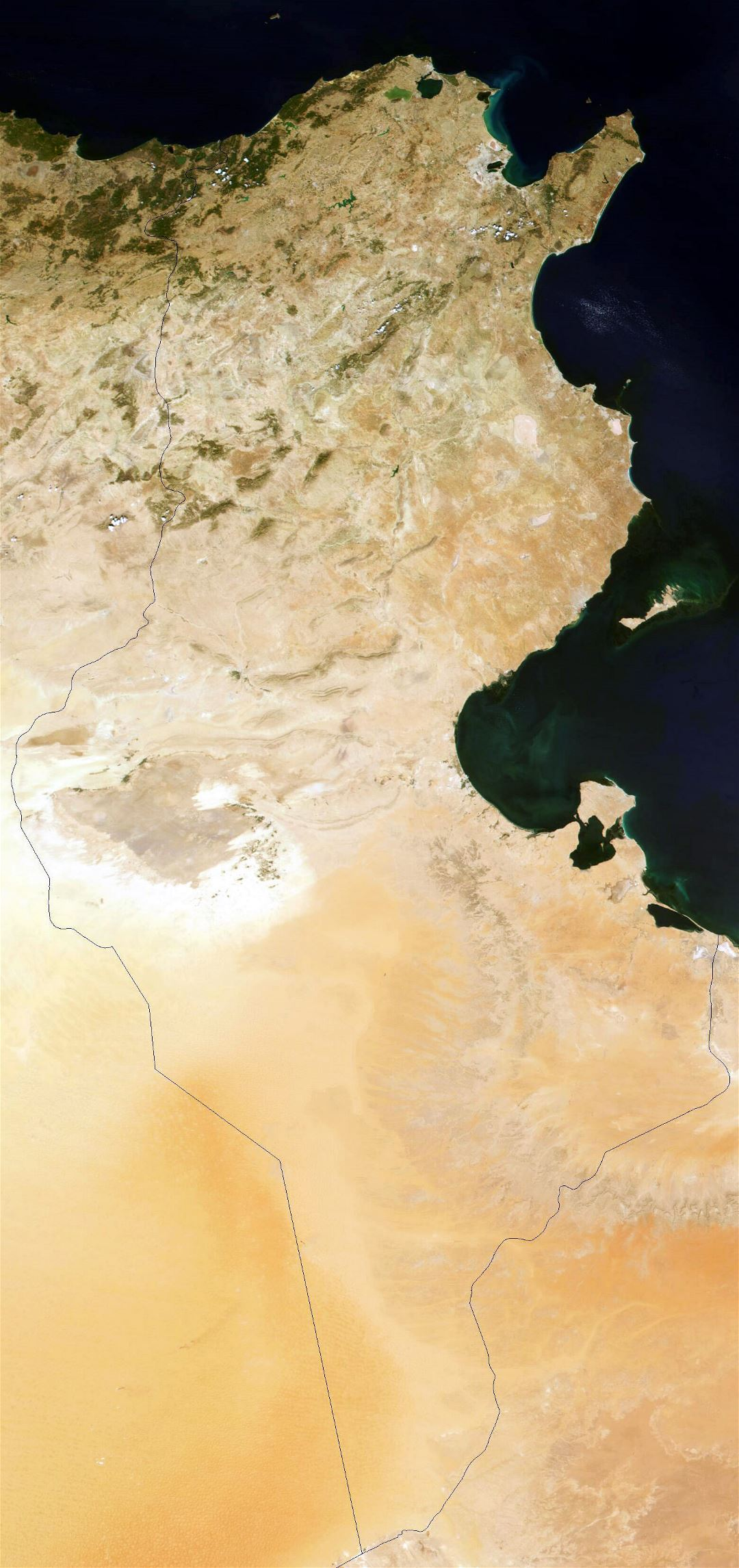 Large detailed satellite image of Tunisia