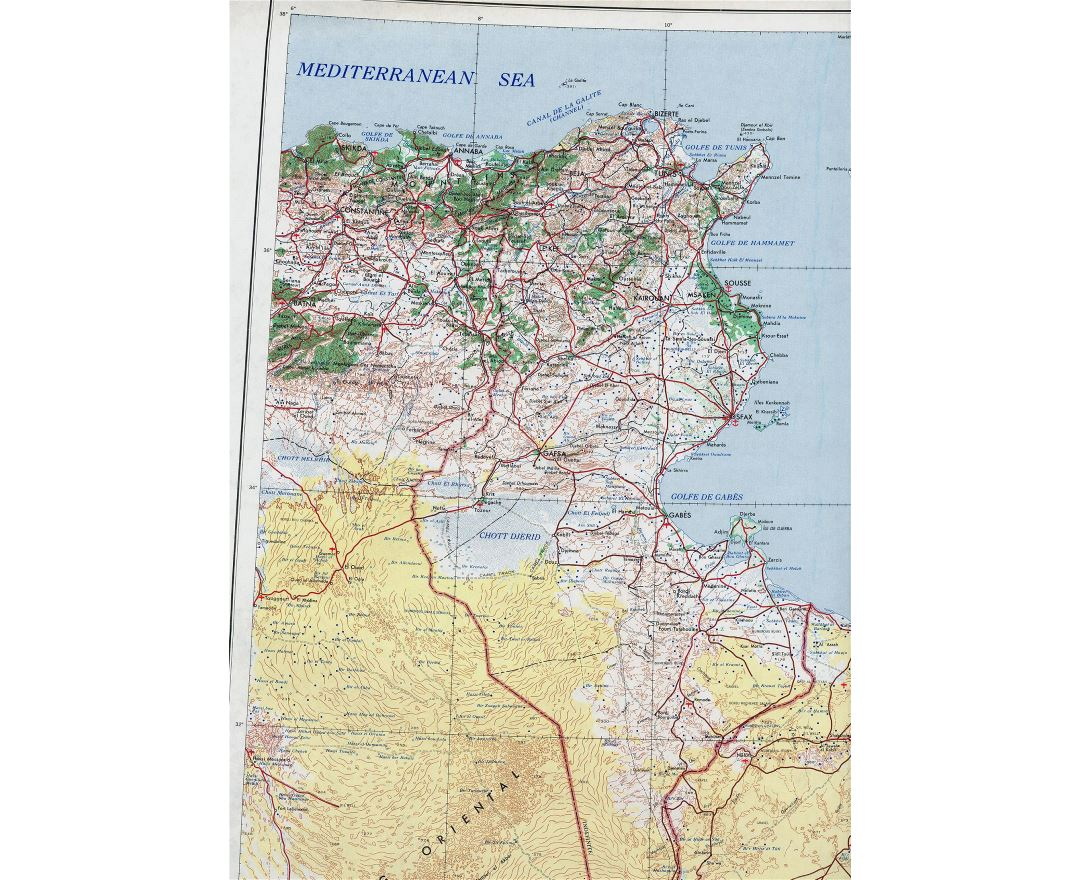 Large detailed topographical map of Tunisia - 1969