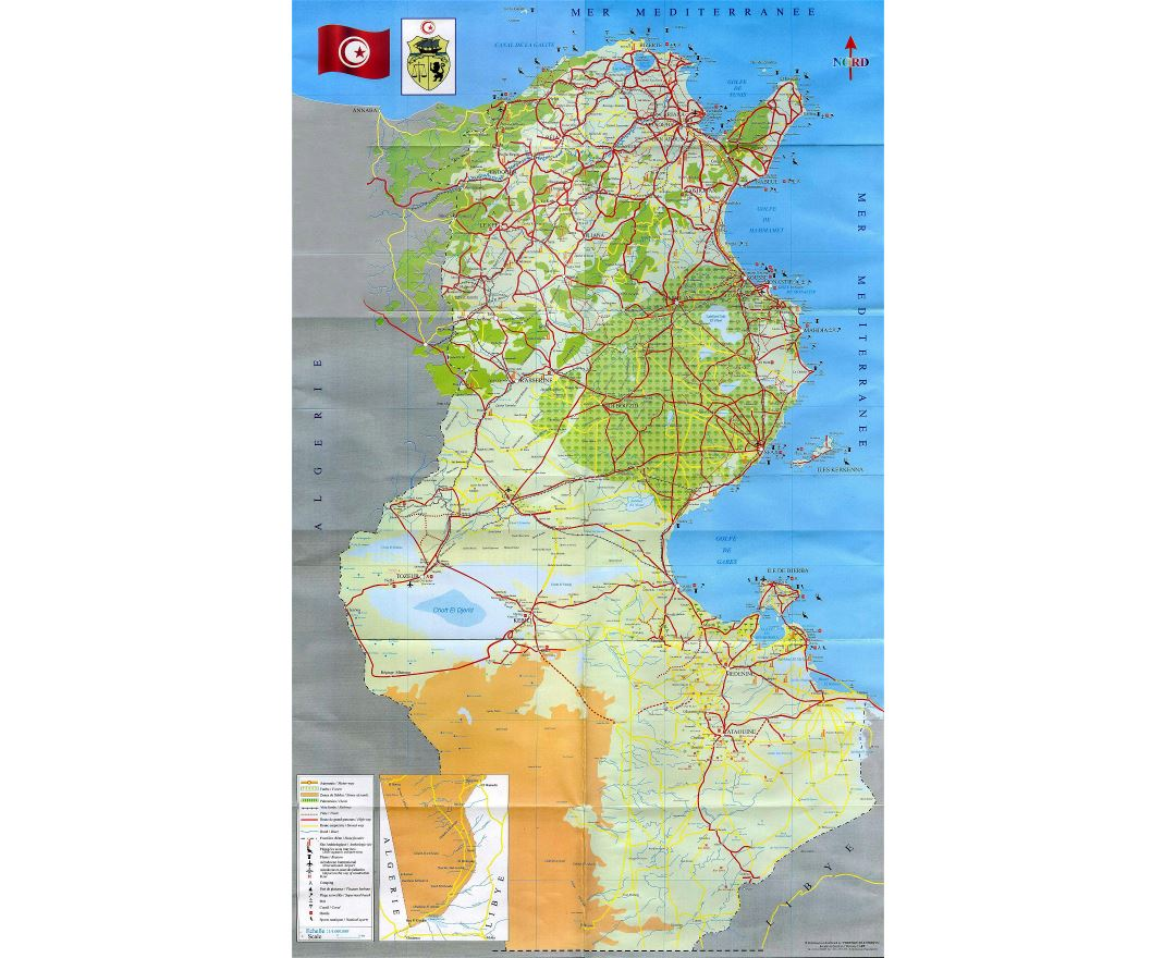 Large detailed tourist map of Tunisia with all roads, cities and other marks
