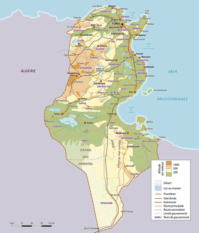 Large physical map of Tunisia | Tunisia | Africa | Mapsland ...