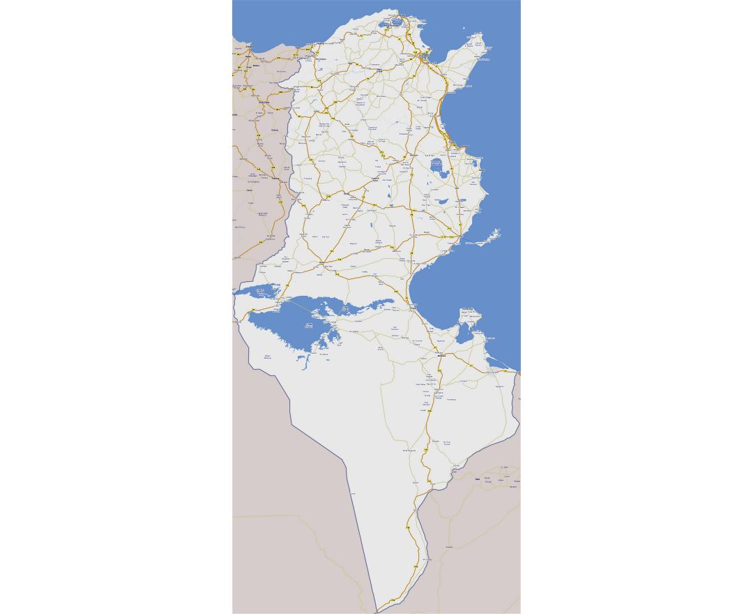 Large road map of Tunisia with all cities