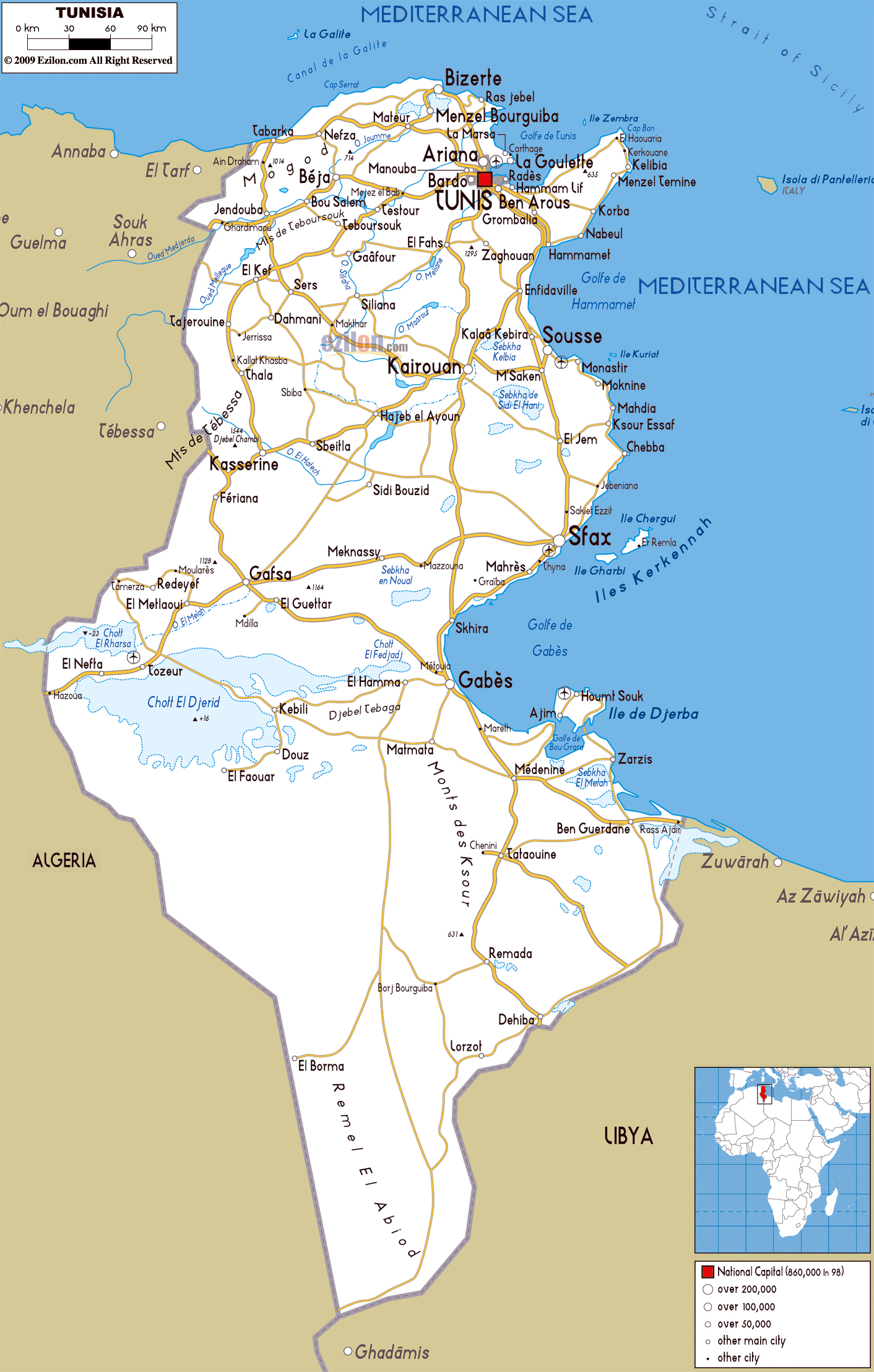 Large road map of Tunisia with cities and airports | Tunisia ...