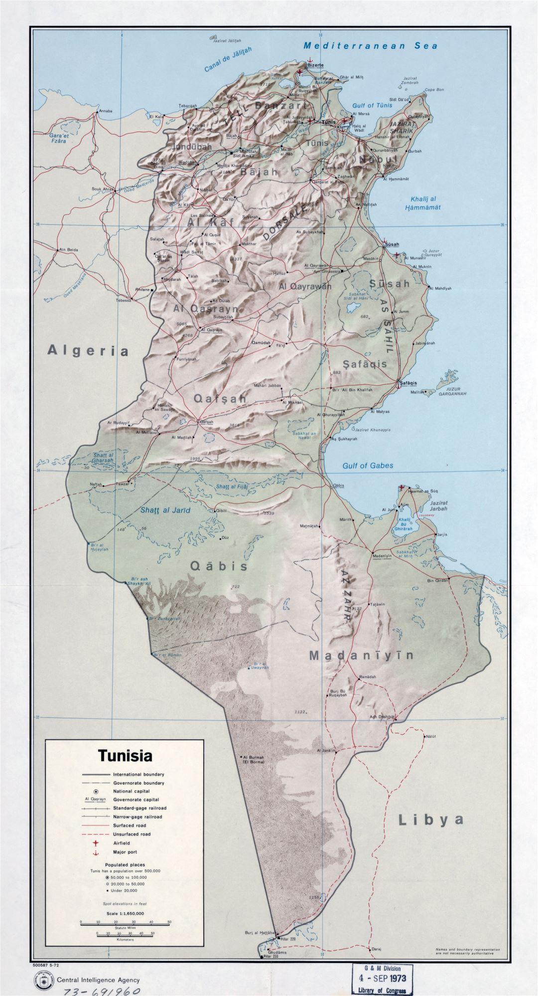 Large scale political and administrative map of Tunisia with relief, roads, railroads, major cities, ports and airports - 1972