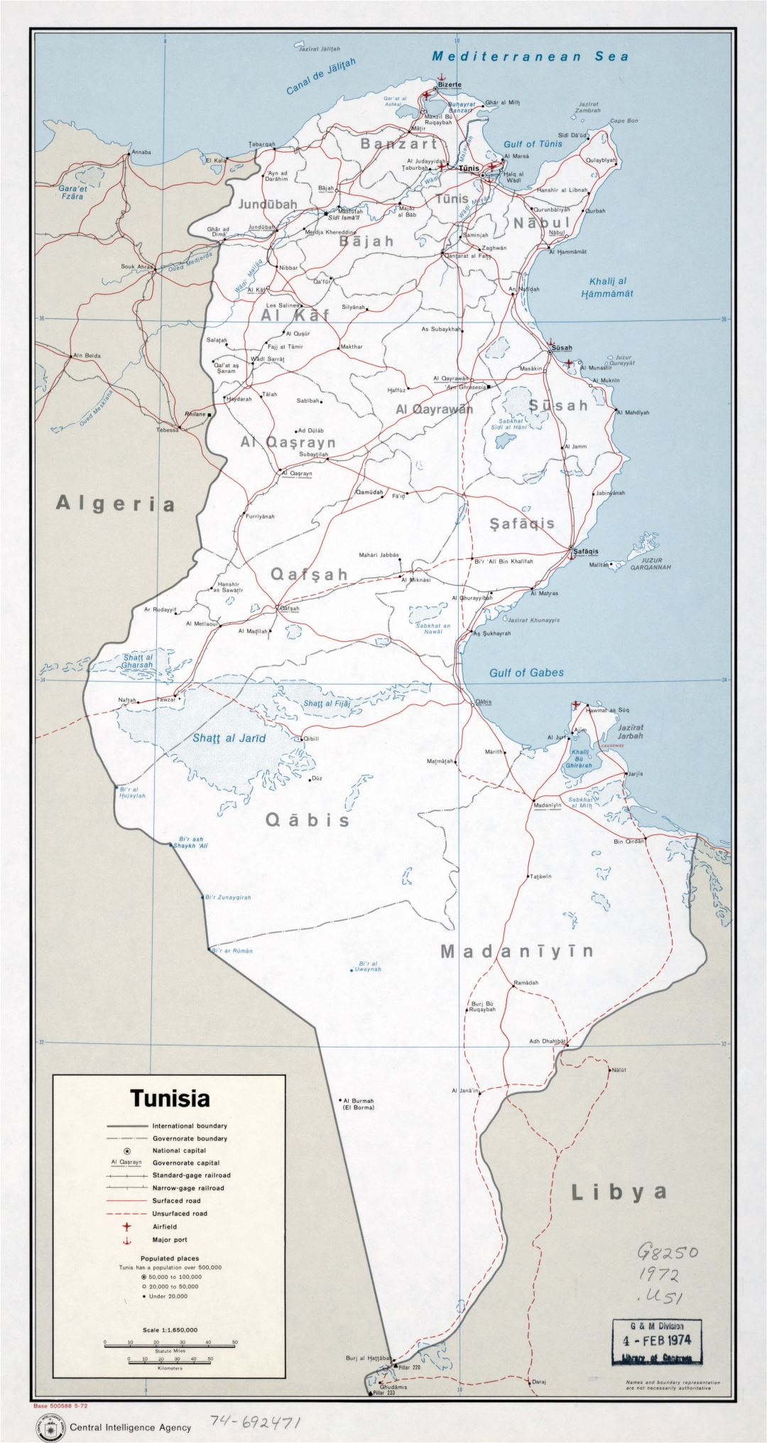 Large scale political and administrative map of Tunisia with roads, railroads, major cities, ports and airports - 1972