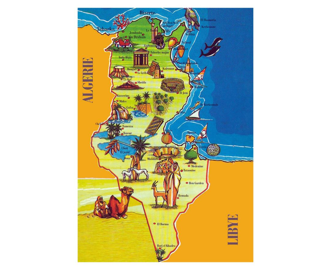 Large tourist illustrated map of Tunisia