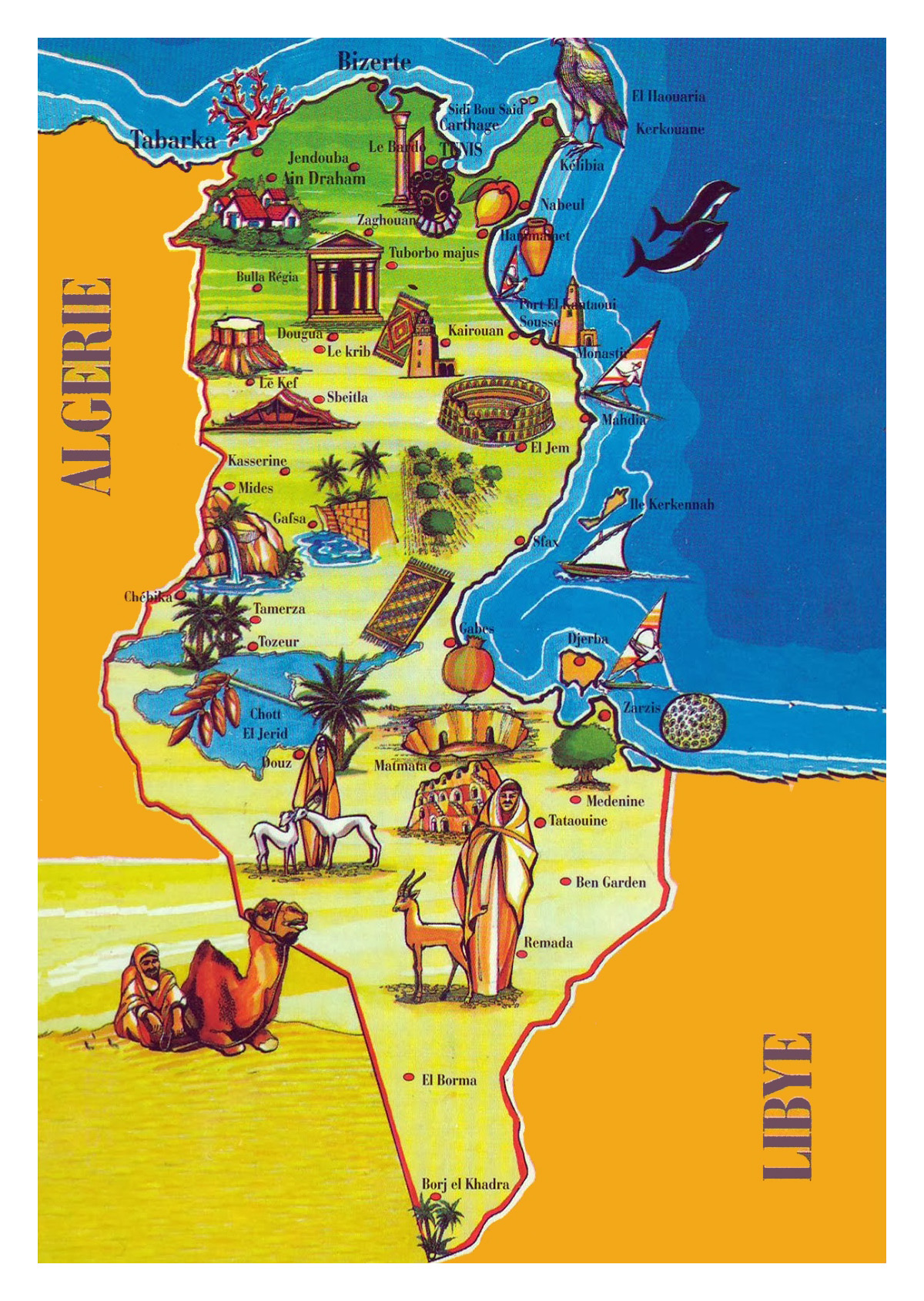 Large tourist illustrated map of Tunisia | Tunisia | Africa ... on map of earth illustration, map of egypt illustration, map of japan illustration, map of zambia illustration, map of united states illustration, map of ancient greece illustration, world map illustration, map of italy illustration,