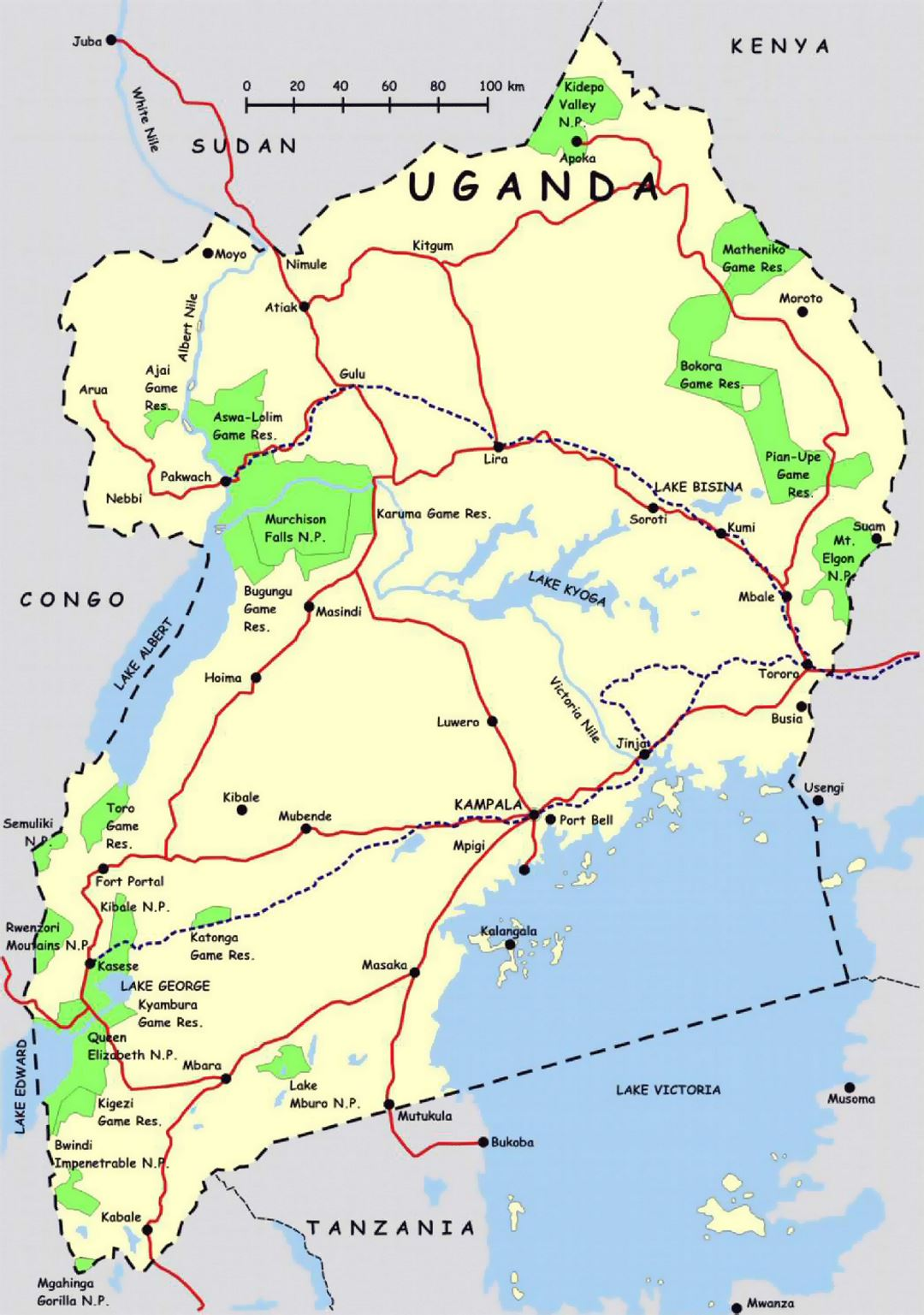 Detailed map of Uganda with highways and national parks