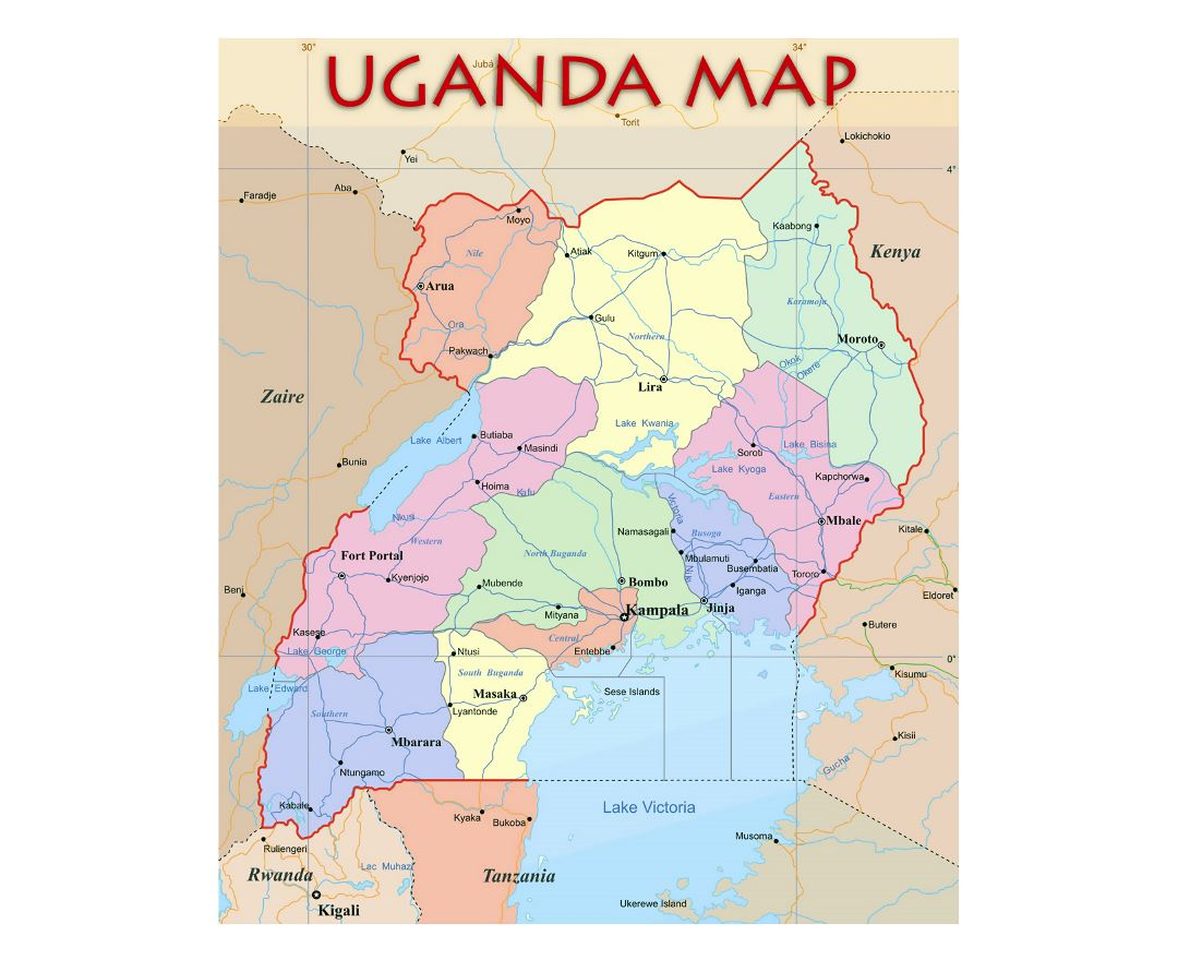 Detailed political and administrative map of Uganda