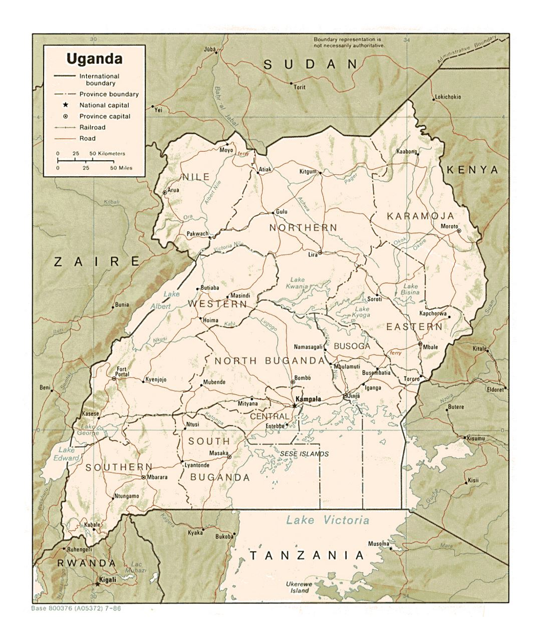 Detailed political and administrative map of Uganda with relief, roads, railroads and major cities - 1986