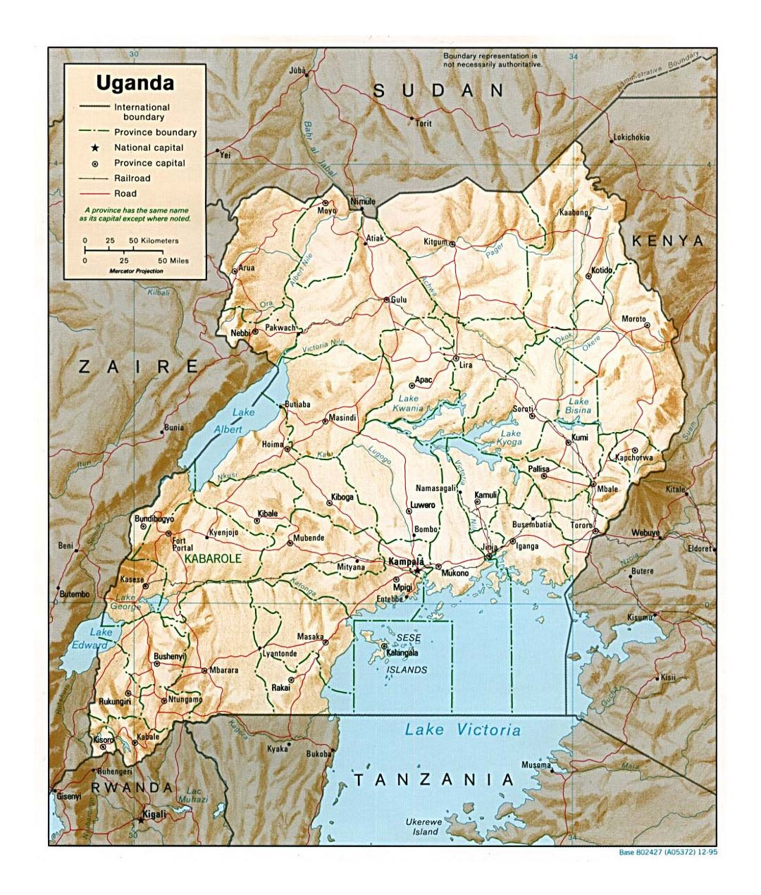 Detailed political and administrative map of Uganda with relief, roads, railroads and major cities - 1995