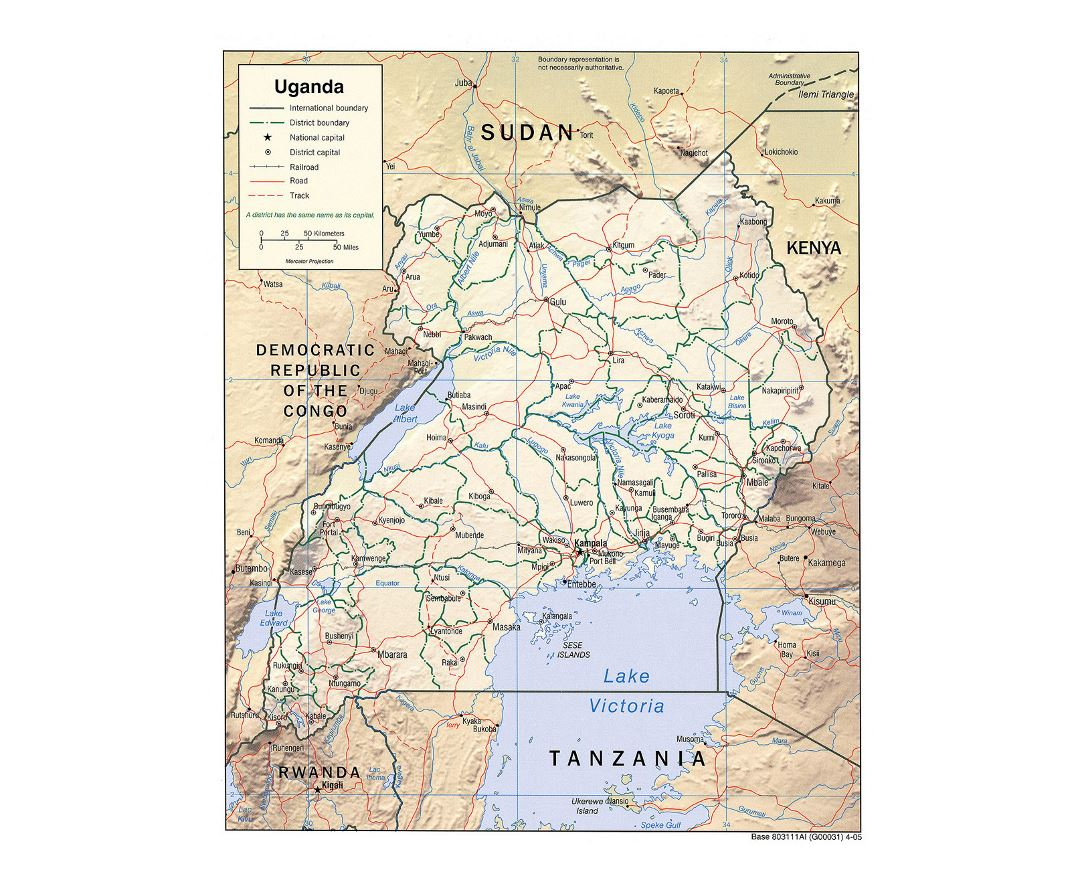 Detailed political and administrative map of Uganda with relief, roads, railroads and major cities - 2005