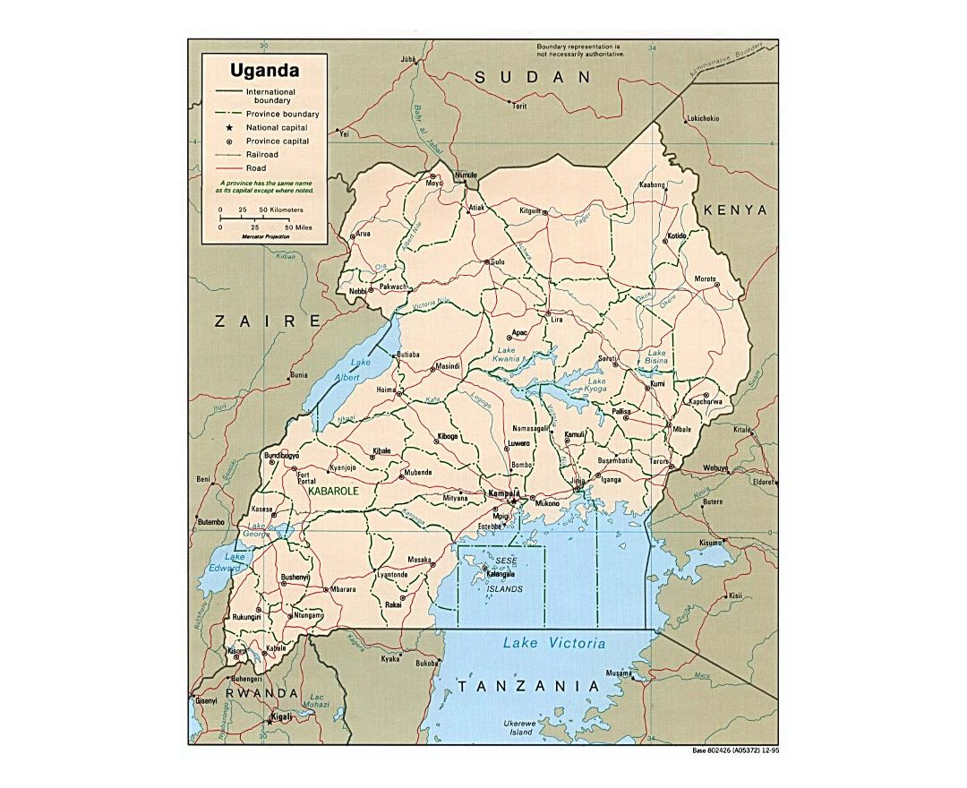 Detailed political and administrative map of Uganda with roads, railroads and major cities - 1995