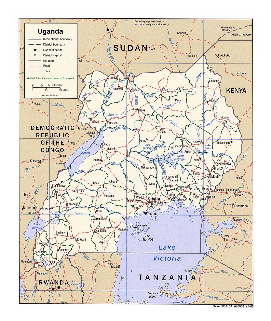 Detailed political and administrative map of Uganda with roads, railroads and major cities - 2005