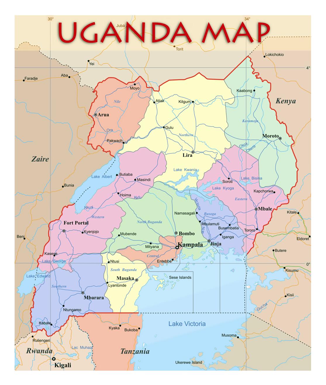 Detailed Political And Administrative Map Of Uganda Uganda