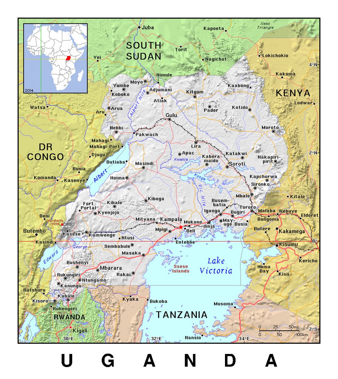 Detailed political map of Uganda with relief