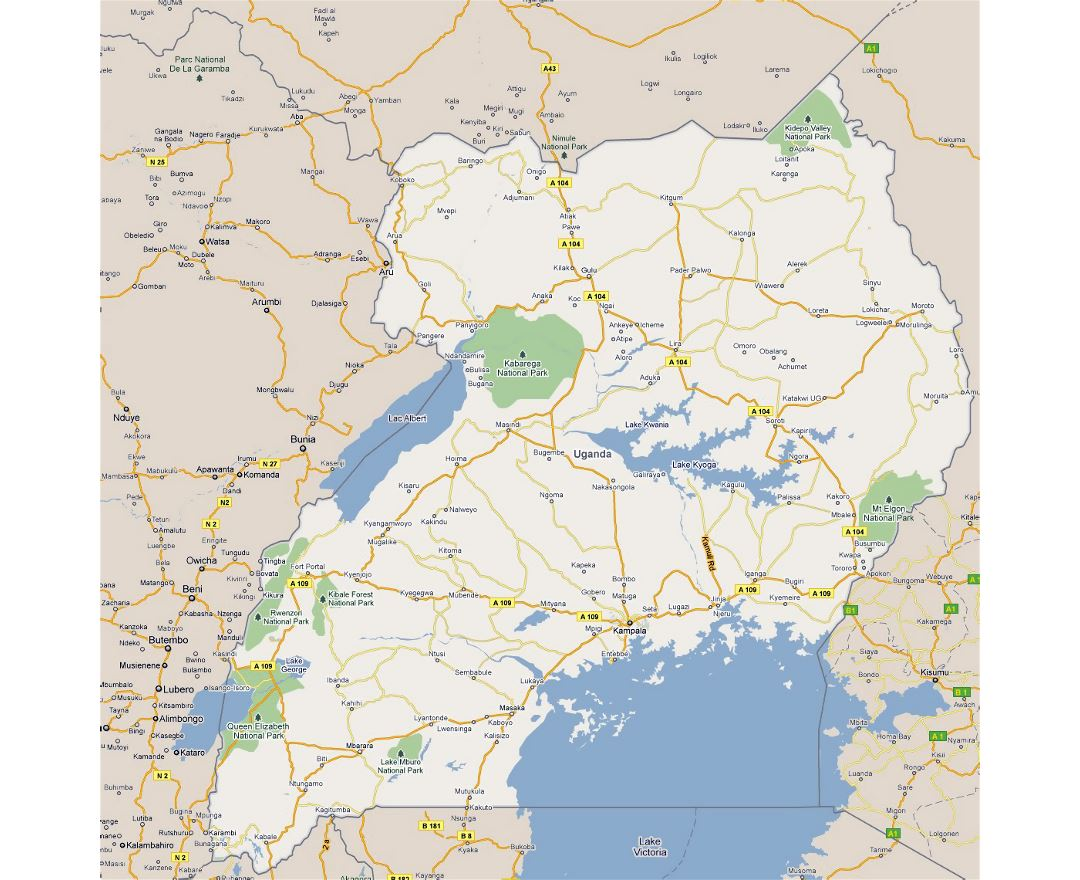 Detailed road map of Uganda with cities