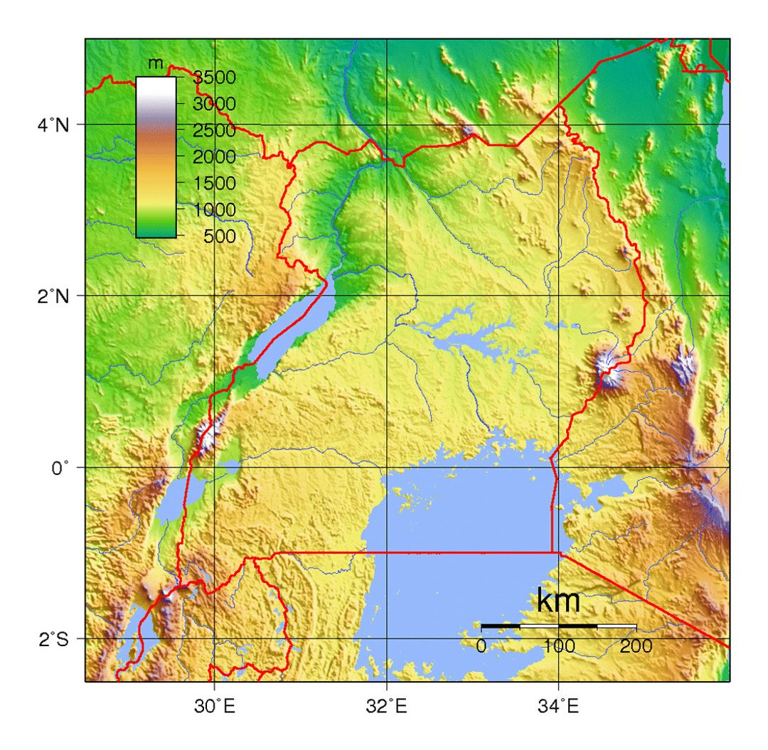 Detailed topographical map of Uganda