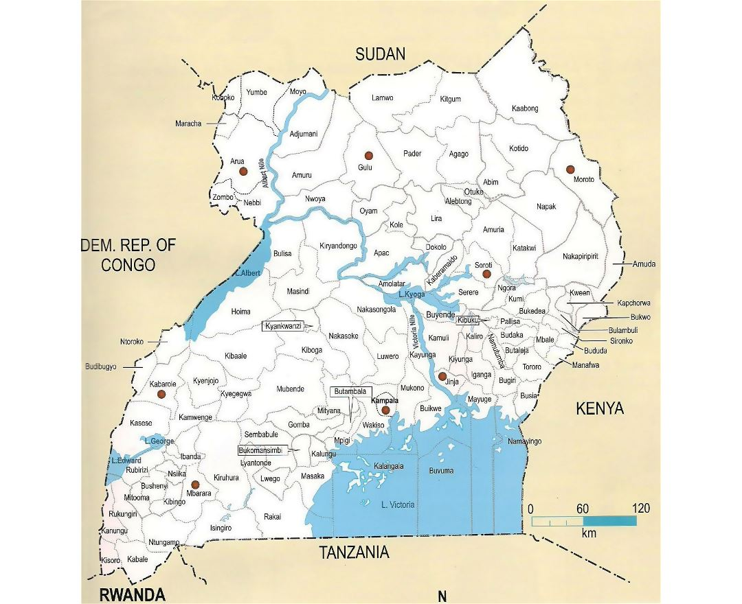 Large administrative map of Uganda