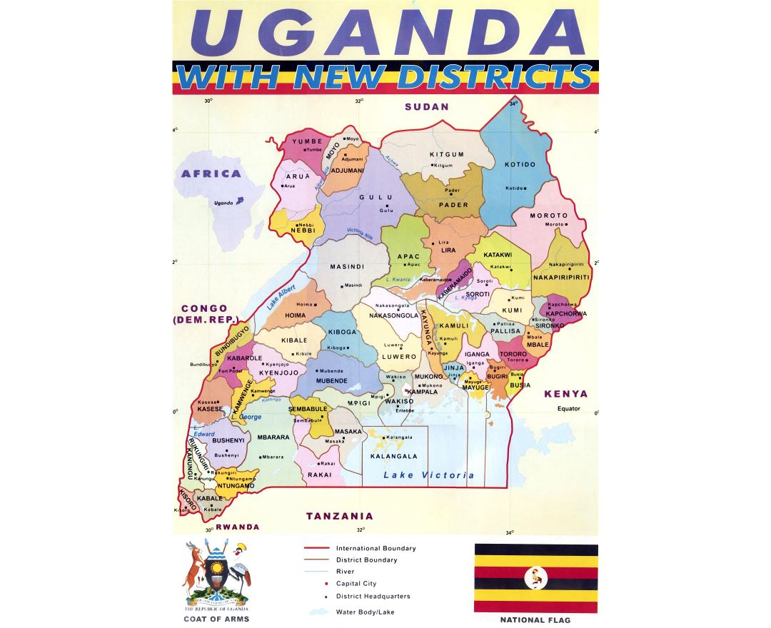 Large detailed administrative map of Uganda