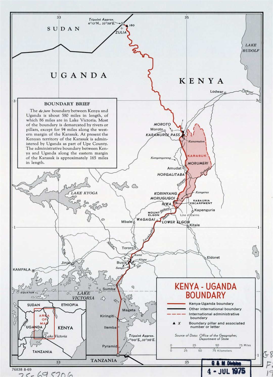 Large detailed Kenya - Uganda boundary map - 1969