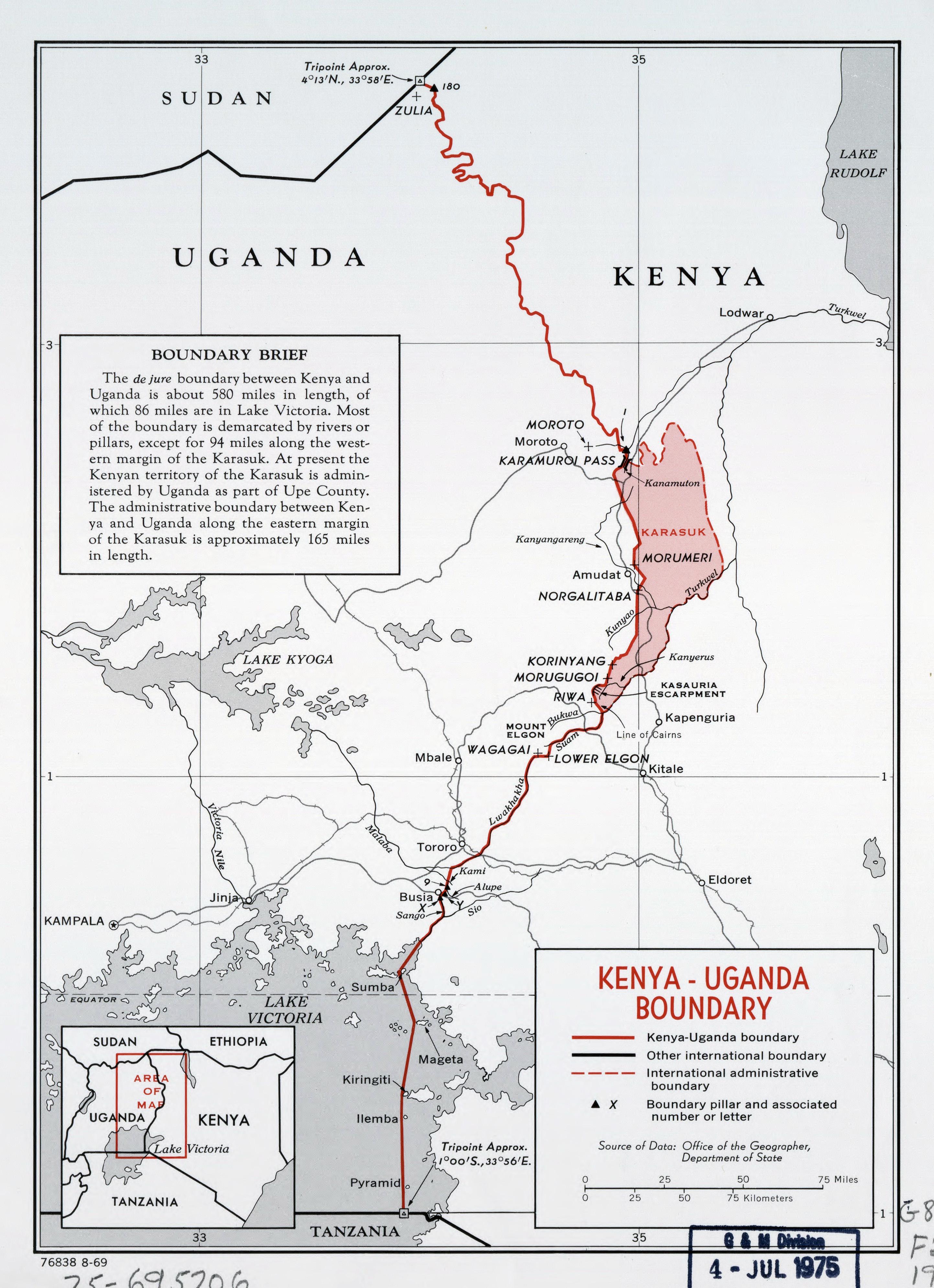 Large detailed Kenya Uganda boundary map 1969 Uganda Africa