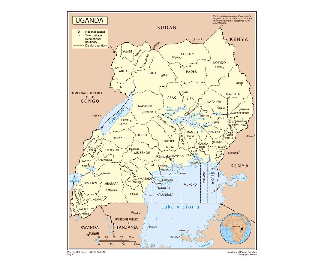 Large detailed political and administrative map of Uganda with major cities